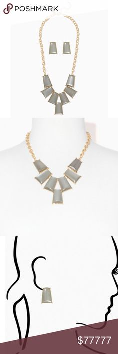 """•COMING SOON• Rectangle Dangle Necklace Set *+*+COMING SOON!+*+*  By Charming Charlie  -Rectangle Dangle Necklace Set •Plated base metal  •Necklace closure: lobster claw •Earrings closure: pieced back  •Measurements- necklace L: 20""""- 2""""extension Charming Charlie Jewelry"""