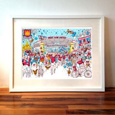 West Ham football west ham united Upton Park Boleyn ground Bobby Moore signed illustration print by Sketchy Kwak on Etsy, Leaving Presents, Blowing Bubbles, West Ham, Postcard Size, Artwork Prints, Custom Homes, Illustrators, Bobby Moore, How To Draw Hands