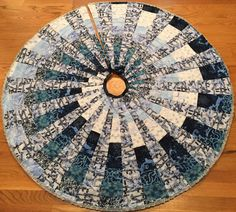 Blue Jay Christmas Tree Skirt by QuiltinginCirclesLLC on Etsy