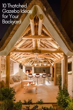 The natural colour of clear treated eucalyptus timber pairs beautifully with a thatched roof, softly adding a subtle touch of rustic to your garden. Outdoor Gazebos, Outdoor Seating, Outdoor Dining, Outdoor Structures, Outdoor Living Rooms, Outdoor Spaces, Outdoor Kitchens, Living Spaces, Built In Braai