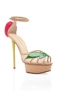 This open-toe platform sandal from Charlotte Olympia features a single buckle ankle strap and three-dimensional rose at back Patent leather upper with leather and nettingLeather sole and liningMade in ItalyPlease note: This item is Final Sale. High Heel Sneakers, Sneaker Heels, High Heels, Nude Heels, Pumps Heels, Spring Sandals, Wedding Heels, Designer Heels, Fashion Heels