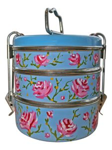 Handpainted Rose Designed 3 Tier Tiffin