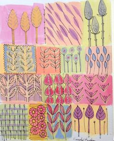 Original Watercolour/acrylic Pen Painting 'Stylized Flowers' Signed