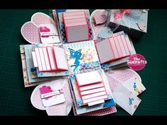 Explosion Box In Pastel Colors Scrapbook Box, Scrapbook Paper Crafts, Scrapbooking, Boite Explosive, Explosion Box Tutorial, Exploding Gift Box, Teachers Day Card, Gift Bows, Shaped Cards