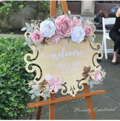 This wooden wedding welcome sign comes personalized with your names, wedding dat. This wooden wedding welcome sign comes personalized with your names, wedding date and paper flower embellishments. Wedding Date Sign, Wedding Welcome Signs, Wedding Signs, Diy Wedding, Wedding Flowers, Trendy Wedding, Bridal Shower Welcome Sign, Wedding Wall, Bridal Shower Signs
