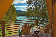 Glamping (glamorous camping) is a growing global phenomenon that combines camping with the luxury and amenities of a home or hotel. Paws Up Resort is the ultimate in the glamping experience, they offer all the elements of real camping, and at the sam River Camp, River Lodge, Luxury Glamping, Luxury Tents, Glamping Tents, Montana Resorts, Sweden Travel, World Pictures, Travel Channel