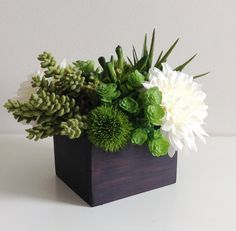 Artificial Succulent Planter / Floral Arrangement / Centerpiece / Faux Succulents / Plants / Green / Brown / White / Ivory / Dahlia