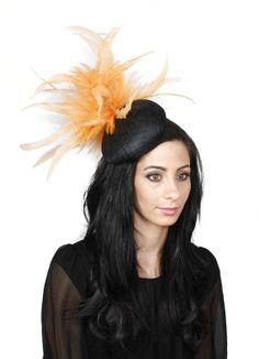 Orange and Black  Fascinator Kentucky Derby or by Hatsbycressida