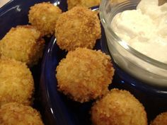 Buffalo Chicken Cheese Balls With Blue Cheese Dip | I'll try it with chunks of chicken instead