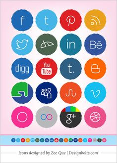 Free Cute Minimalistic Social Media Icon Set 256 x 256 PNG Best Free Social Media Icons Collection