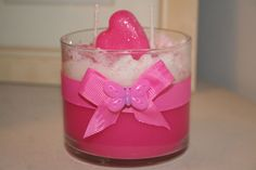 Pink Strawberry Container Soy Wax Blend Specialized Handmade 2 Wick Candle #Handmade