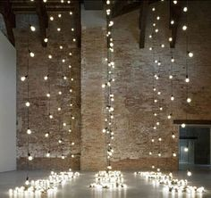 Industrial Ceremony with twinkle lights