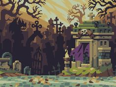 This is background art from Curses 'N Chaos by tributegames, pixeled by Stéphane Boutin a.k.a. jgsboutain.