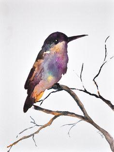 ORIGINAL Watercolor Painting  Violet Hummingbird  by ArtCornerShop, $42.00
