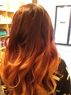 brown to orange ombre hair - Google Search