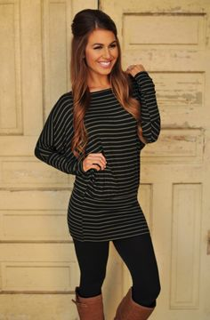 Banded Dolman Tunic- Black/Olive - Dottie Couture Boutique