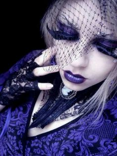 Purple hair & makep goth gothic with wicked Merry Widow veil.
