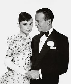 Audrey and Fred Astaire in a publicity still for Funny Face, 1957.