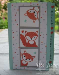 "handmade card: Kinderkarte mit dem Stempelset ""Foxy Friends"" ... luv the look of the fox peeking in at different angles on triple square column ... Stampin' Up!"