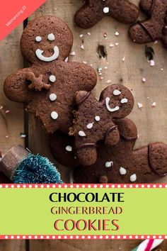 Chocolate Gingerbread Cookies For Christmas Chocolate Gingerbread Cookie Recipe, Healthy Gingerbread Cookies, Healthy Christmas Cookies, Gingerbread Men, Christmas Gingerbread, Chocolate Cookies, Ginger Man Cookies, Ginger Bread Cookies Recipe, Spritz Cookie Recipe