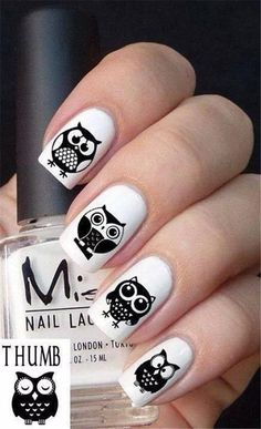 Cute Owl Nail Art Designs 23