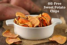 Oil-Free Sweet Potato Chips. -Worked out well.  I liked, husband liked, son was not crazy about them...but he might learn to like them.