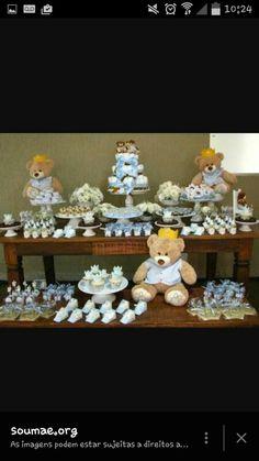 Chá de bebê ursinho azul