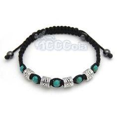 Bracelet homme/men's style shamballa perles métal couleur argent + perles pierre naturelle howlite couleur turquoise 6mm