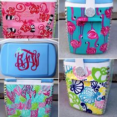 Lovely Lilly Cooler, I so want to do this! Diy Cooler, Coolest Cooler, Yeti Cooler, Painted Ice Chest, Sorority Sugar, Sorority Life, Cooler Designs, Cooler Painting, Frat Coolers