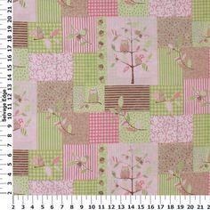 Children's Prints - Baby Owl Pink, Green, and Brown Patches Cotton Fabric