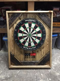 Dartboard made from pallet wood, finished with danish oil and minwax jacobean stain.