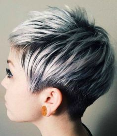 30 Short Ombre Hair Options for Your Cropped Locks in 2019 short black pixie with ash blonde balayage – Farbige Haare Short Silver Hair, Silver Ombre Hair, Ombre Hair Color, Gray Ombre, Pixie Hair Color, Pastel Pixie Hair, Hair Colors, Color For Short Hair, Grey Pixie Hair