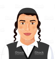 Jewish young man face portrait with hat in a black suit. Jerusalem. Israel. Vector Illustration isolated on white background. Сток Вектор Стоковая фотография