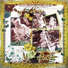Scrap z użyciem papierowych kolorowych różyczek od Latarni Morskiej Scrapbooking, Bap, Layouts, Movie Posters, Painting, Water, Gripe Water, Film Poster, Painting Art