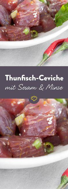 Thunfischfilet in Würfel schneiden und in Zitronensaft gar ziehen lassen - diese Ceviche ist in Windeseile gemacht. Frischer geht's kaum!