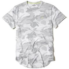 Hollister Must-Have Curved Hem T-Shirt ($20) ❤ liked on Polyvore featuring men's fashion, men's clothing, men's shirts, men's t-shirts, grey camo, mens grey t shirt, mens longline t shirt, mens camouflage shirts, mens longline shirt and mens grey shirt