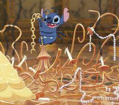 Stitch ruins Belle's dance.