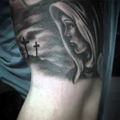Mary With Jesus On The Cross Mens Bicep Tattoos