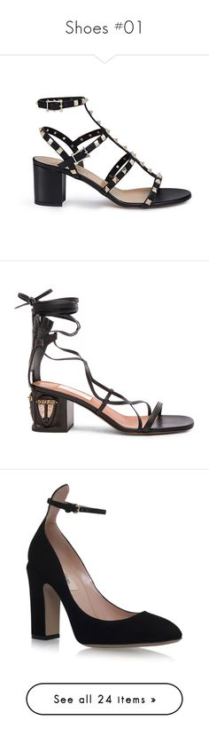 """""""Shoes #01"""" by tynabrookler ❤ liked on Polyvore featuring shoes, sandals, black, block heel sandals, black block heel shoes, cage sandals, studded sandals, black block heel sandals, heels and mid heel gladiator sandals"""