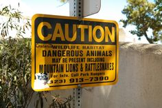 We take the warning signs seriously when we have our Elite Adventure Tours guests up in the hills around Hollywood and Beverly Hills or when we are hiking through Griffith Park.  However, in all our years of doing this we have yet to see anything really dangerous except for freeway drivers and paparazzi.  No warning signs about them.