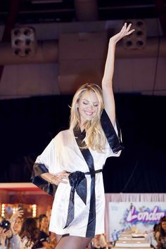 #Candice Swanepoel having fun with  the press backstage at the 2014 Victoria's Secret Fashion Show, London.