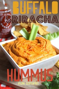 Buffalo Sriracha Hummus  You should make this for dad