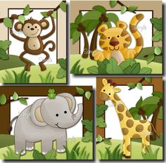 Set of 4 Jungle Safari Animals - Elephant, Tiger, Monkey and Giraffe Babies Bedroom Nursery ART PRINTS. $20,00, via Etsy.