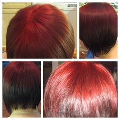 The Vibrant red brings out the hairstyle, making it very eye catching.