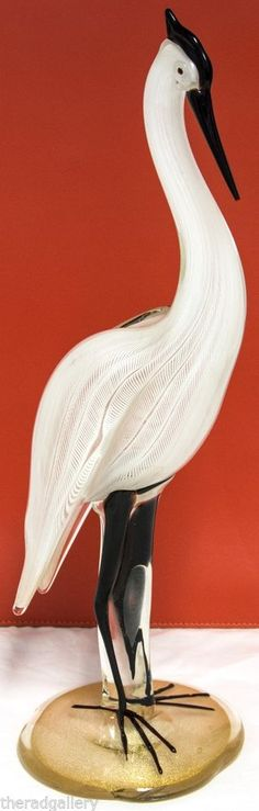 "Tres Elegant!!  Vintage Murano White Heron Blown Art Glass 16"" Tall Bird with Zebrati technique #Murano"