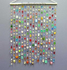 beaded curtain - hang on porch or pergola Bead Crafts, Jewelry Crafts, Diy And Crafts, Arts And Crafts, Window Hanging, Curtain Hanging, Glass Beads, Glass Crystal, Crystal Beads