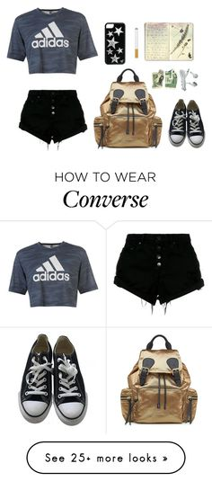 """k"" by xx-secret-xx on Polyvore featuring adidas, Converse, Nobody Denim, Burberry and Moleskine"