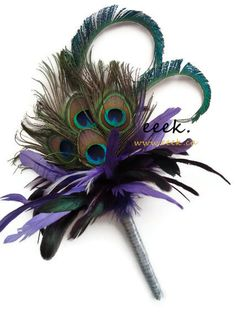 Weddings bridesmaids purple, peacock bouquet by eeek. $80.00, via Etsy.