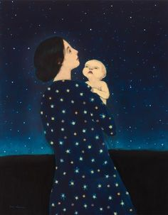 Young Astronomer by Brian Kershisnik. A mother introduces her curious child to the wonders of the heavens in this poignant giclee print of an original oil painting. Signed and numbered limited edition of Painting Inspiration, Art Inspo, Illustrations, Illustration Art, Brian Kershisnik, Vision Art, Lds Art, Mother Art, Oeuvre D'art