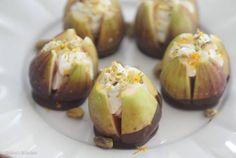 Valentine's Day Dark Chocolate Dipped Figs with Chevre Filling via @abbeyskitchen